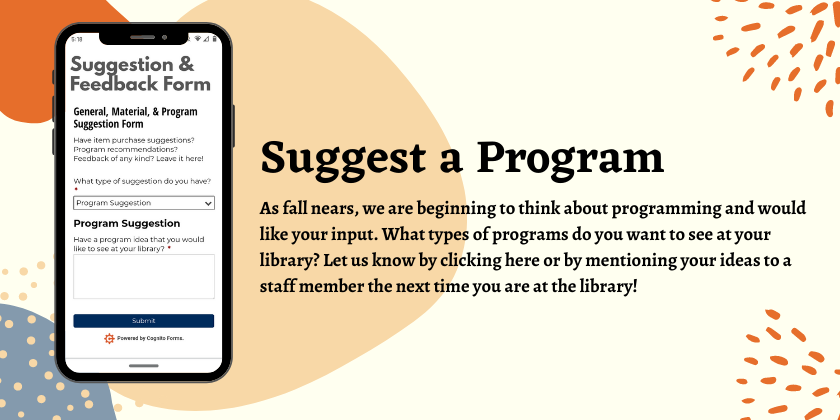Suggest a program you want to see at your library!